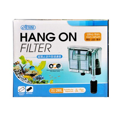 ISTA - Filtru cascada ultra subtire, 280L/h, valva anti retur- Hang-On Filter I-852